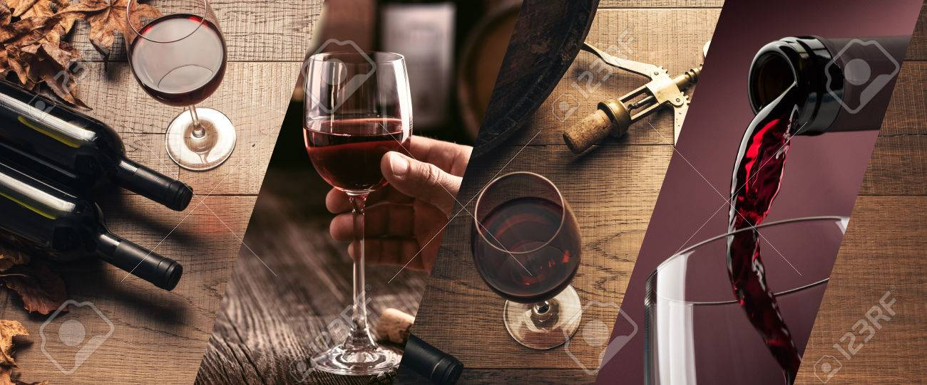 Wine tasting and winemaking photo collage with wine glasses and bottles - 84267317