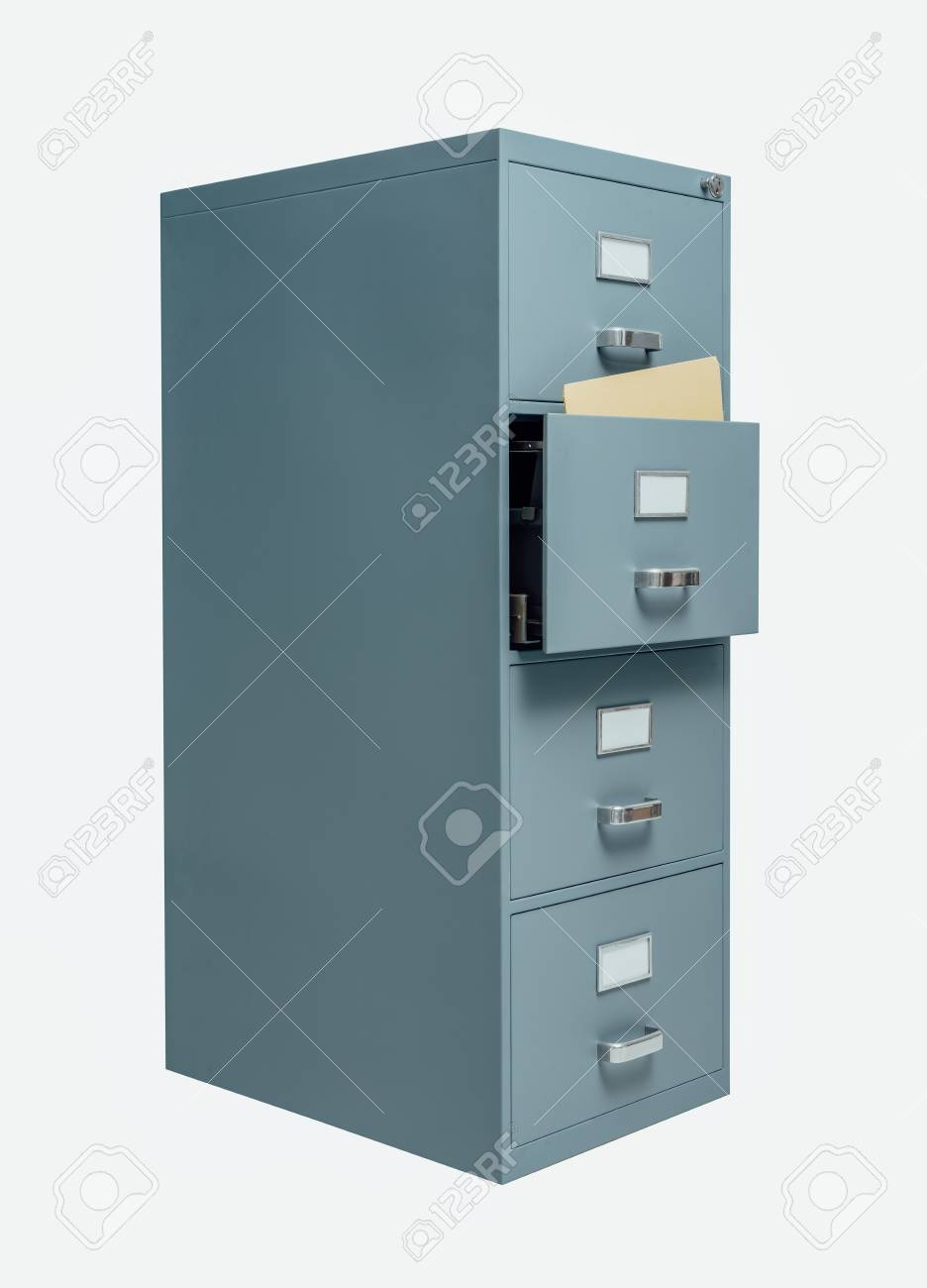 Filing cabinet with open drawer on white background, data storage and administration concept - 85506261