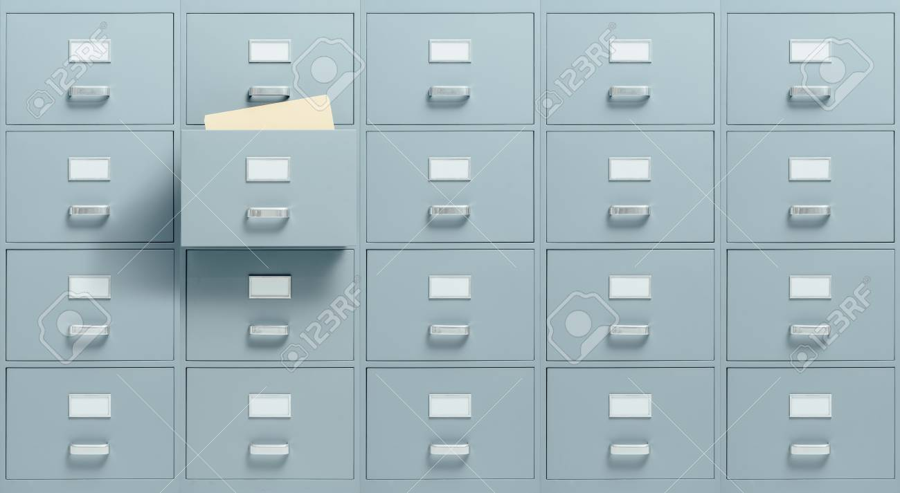 Ordinaire Stock Photo   Wall Mounted Filing Cabinets, A Drawer With Files Inside Is  Open, Administration And Business Concept