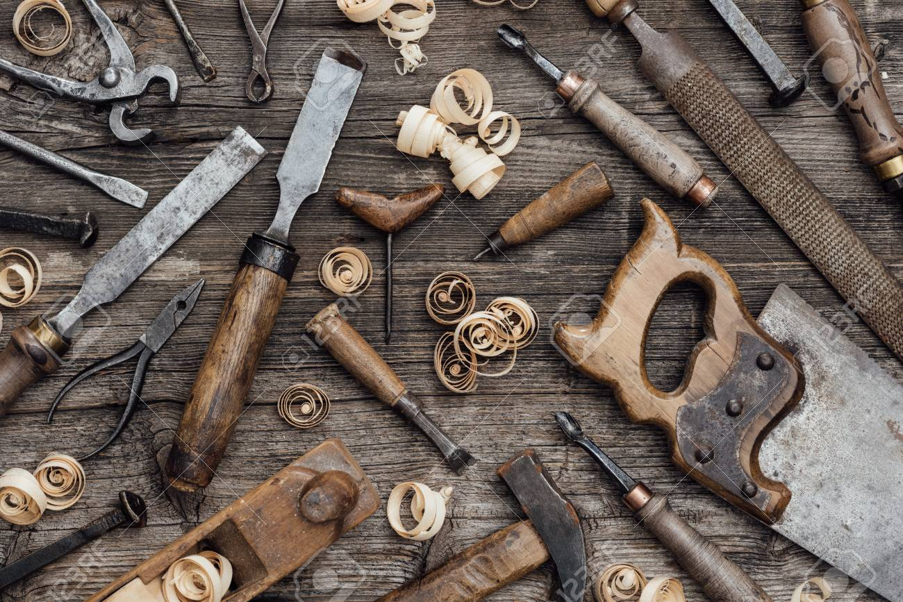 Old Used Woodworking Tools On A Vintage Workbench Carpentry