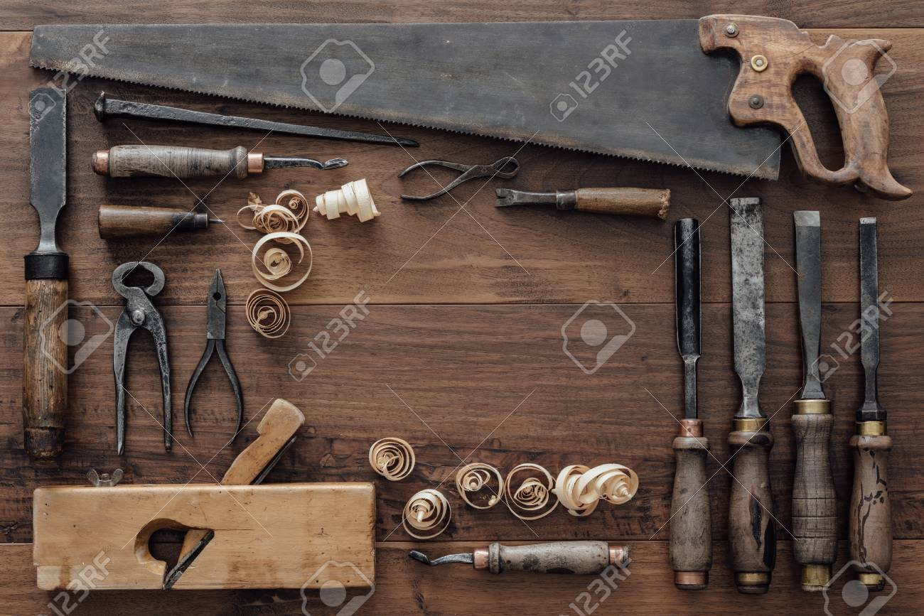 Frame Composed Of A Collection Of Vintage Woodworking Tools On ...