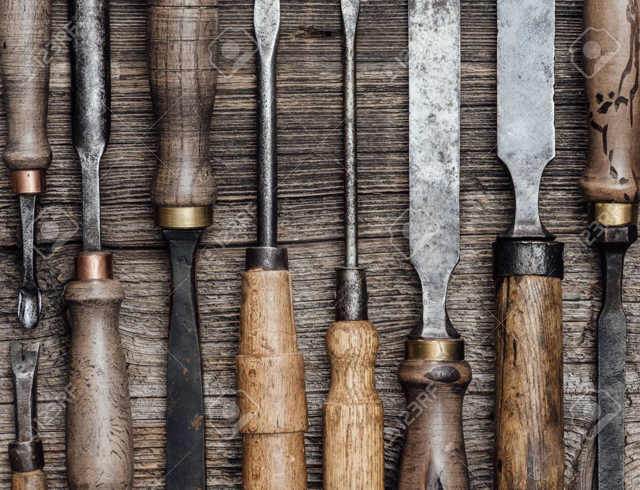 Set Of Used Professional Carving And Woodworking Tools On The