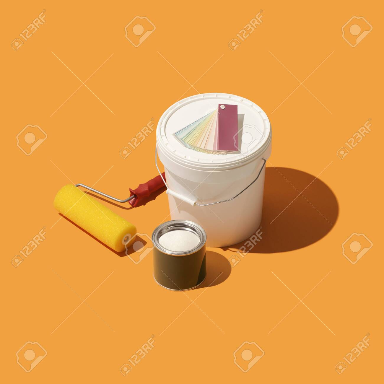 Paint Bucket With Swatches And Paint Roller Diy Home Renovation Stock Photo Picture And Royalty Free Image Image 121504262