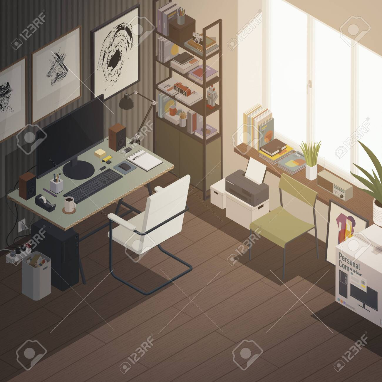 Contemporary Home Office Interior With Computer Desk And Modern Stock Photo Picture And Royalty Free Image Image 146509006