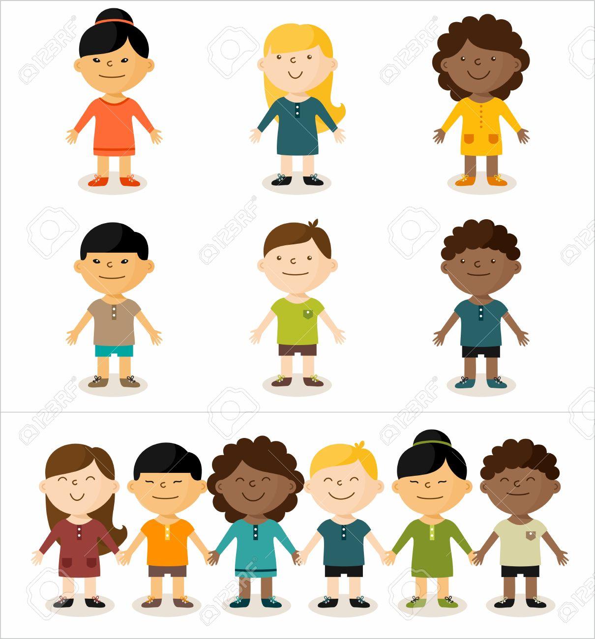 ベクトル イラスト 多文化子どもたちの笑顔がかわいいすべての要素は