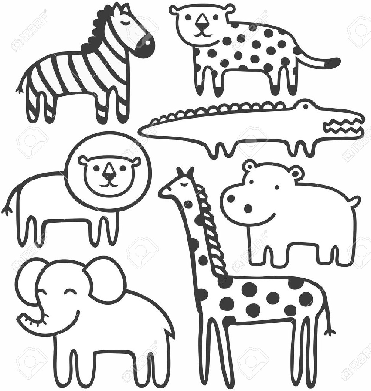 Vector wild animals in black and white vector illustration set