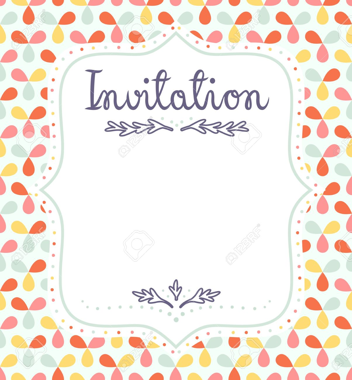 Cute Invitation Template For Festive Events Royalty Free Cliparts ...