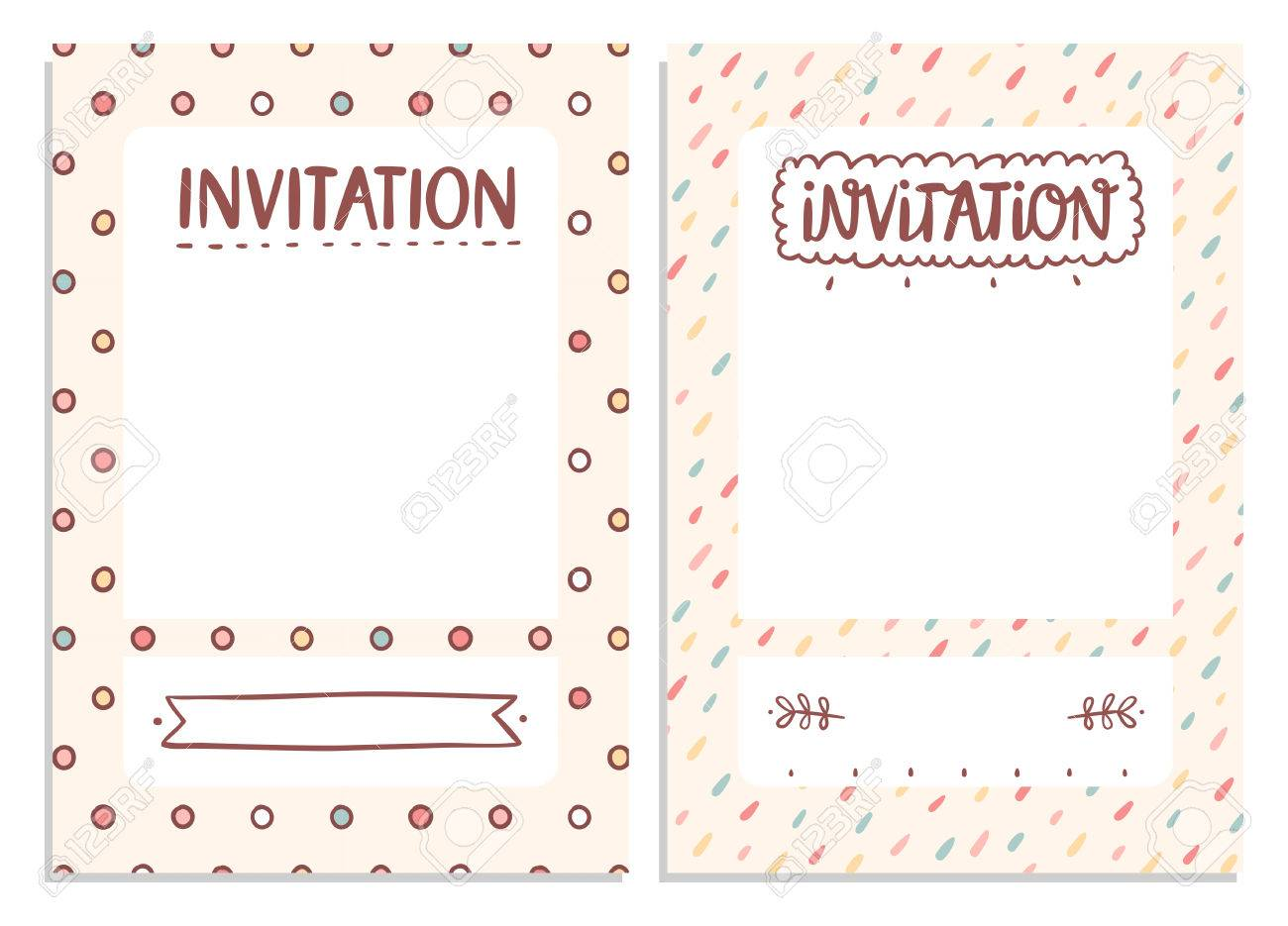 Cute Invitation Templates For Festive Events Royalty Free Cliparts