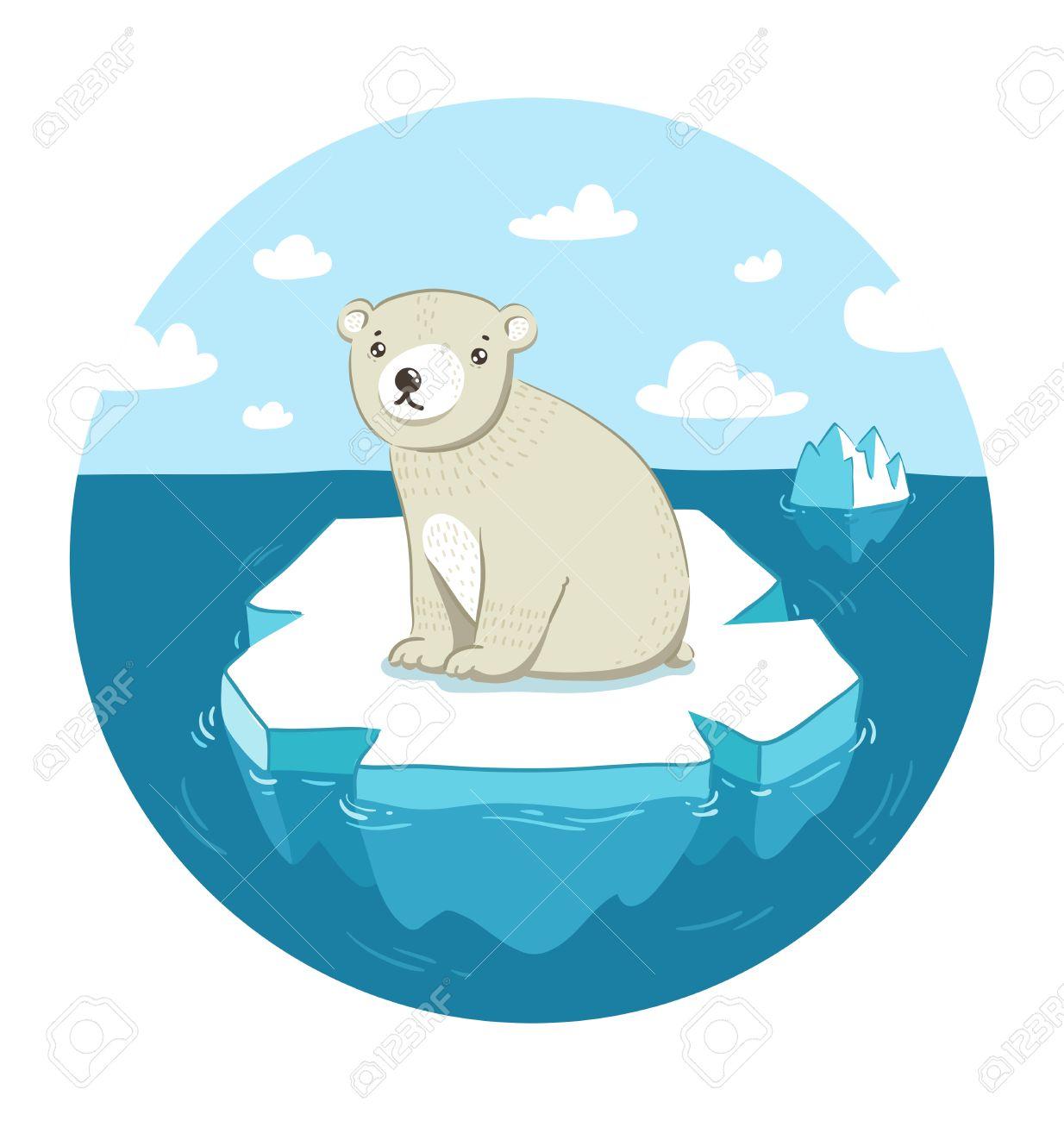 Sad polar bear sitting on ice floe Stock Vector - 26362302