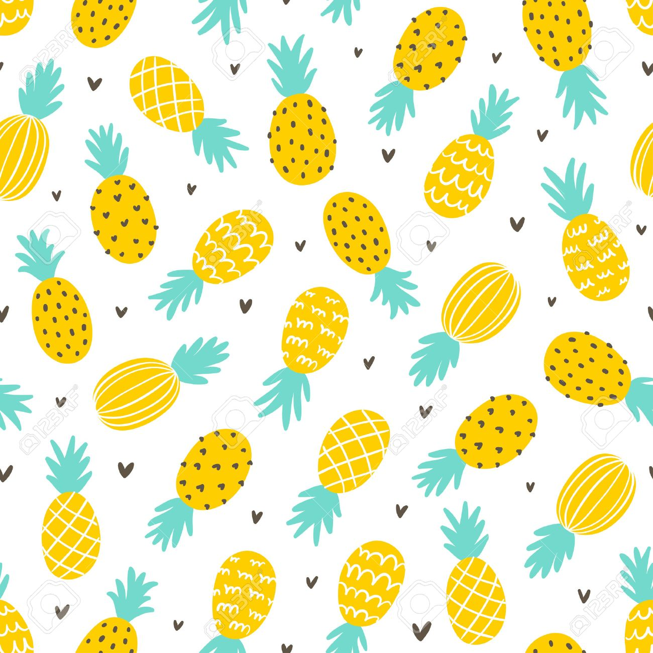 Pineapple And Hearts Seamless Pattern Background Stock Vector
