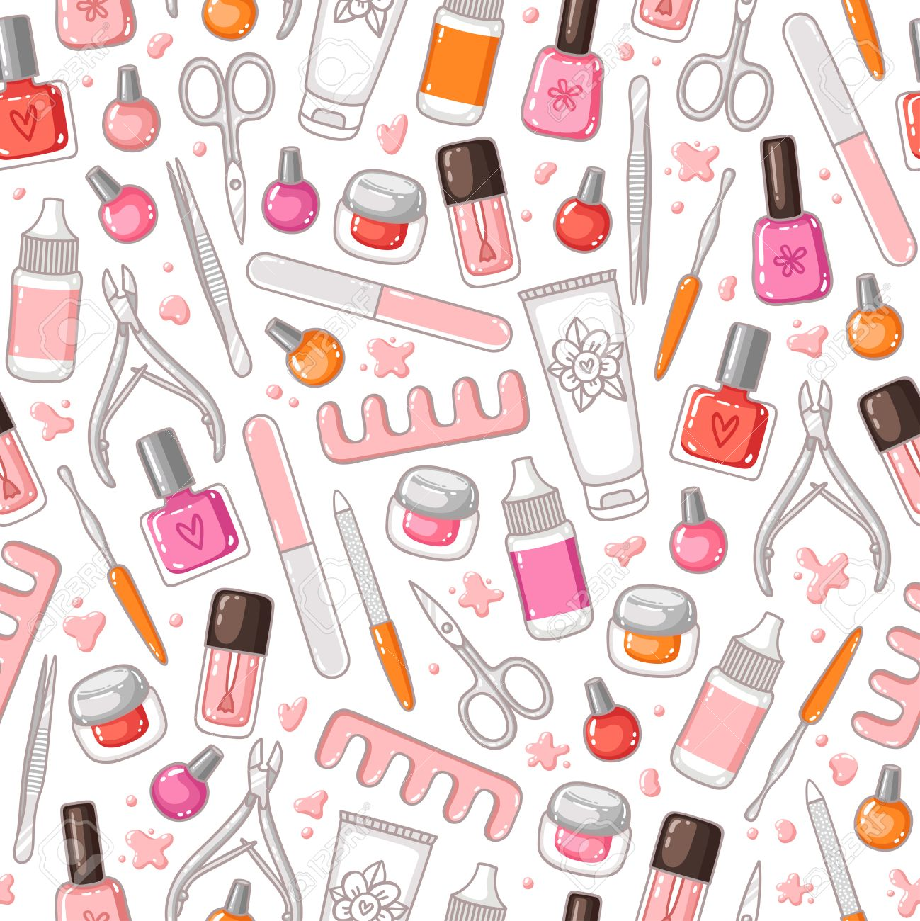 Manicure tools vector seamless pattern - 50494522