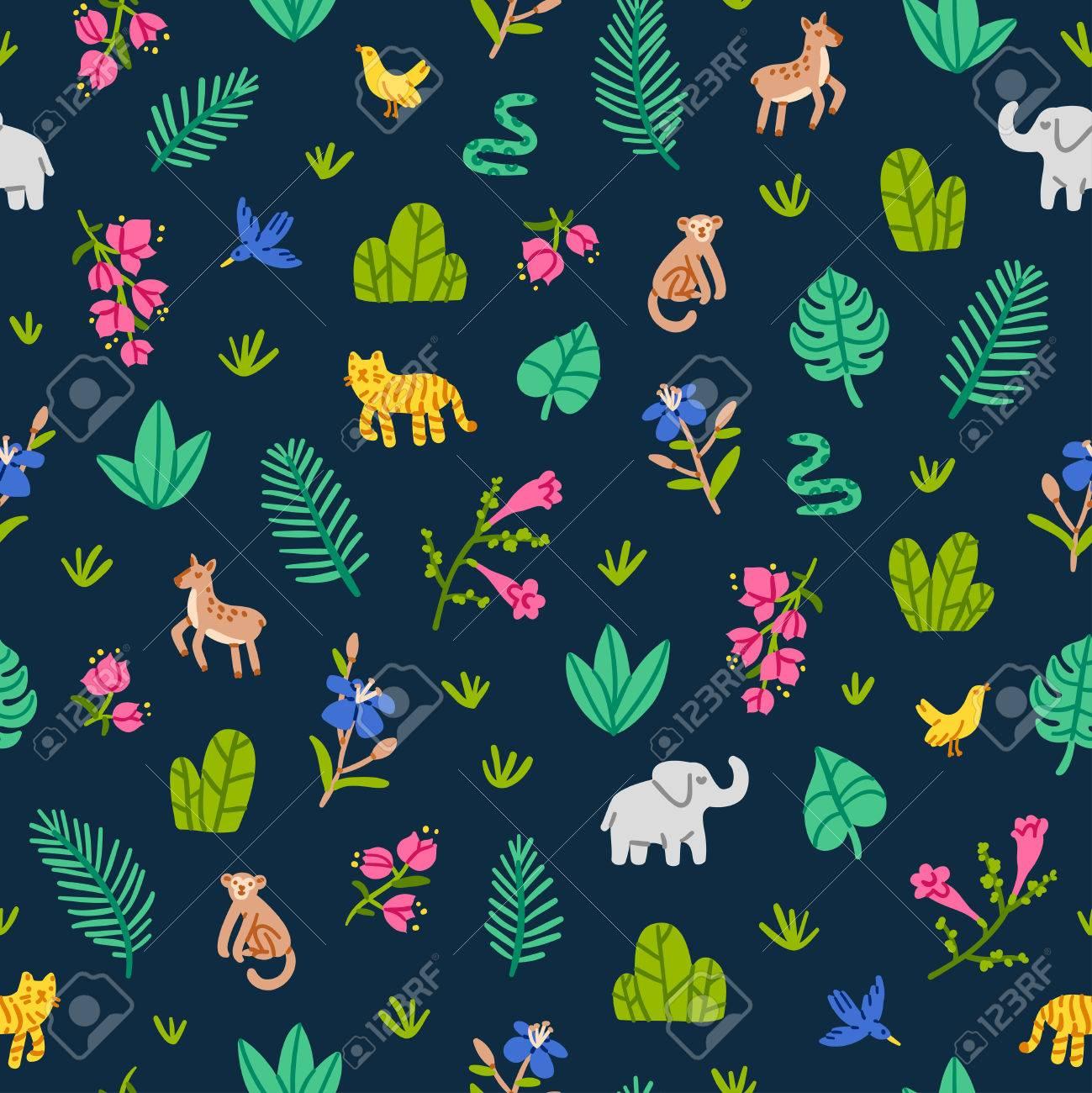 Jungle wildlife nature seamless pattern - 51375970