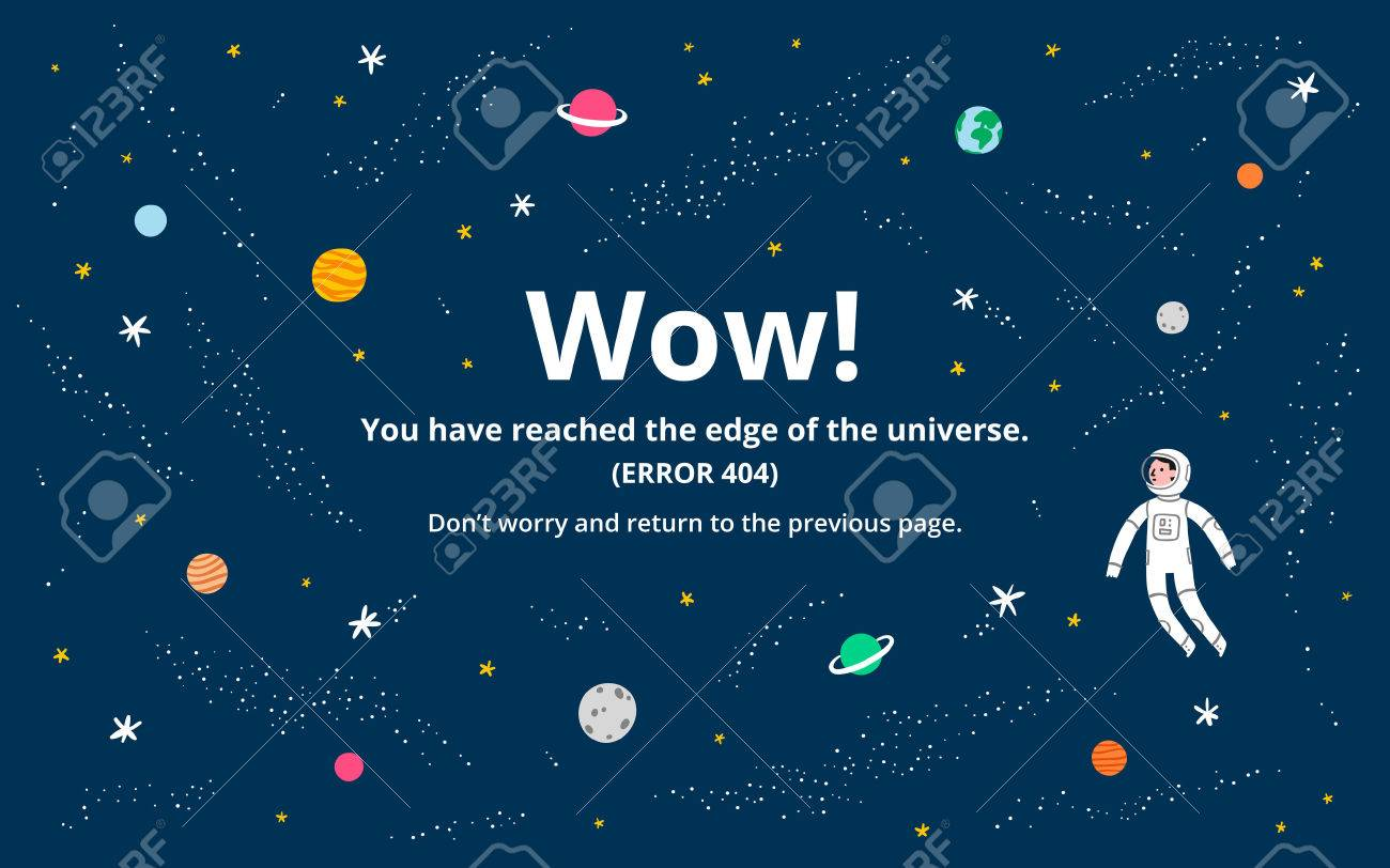 Space 404 error page, vector template - 55885025