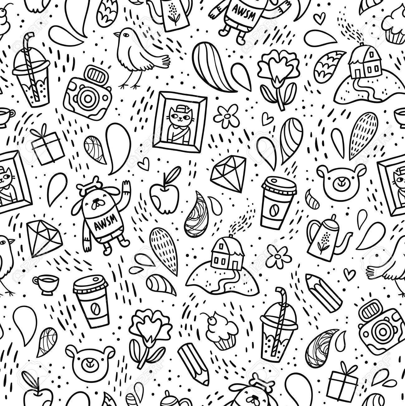 Fun Doodle Things Black And White Seamless Pattern