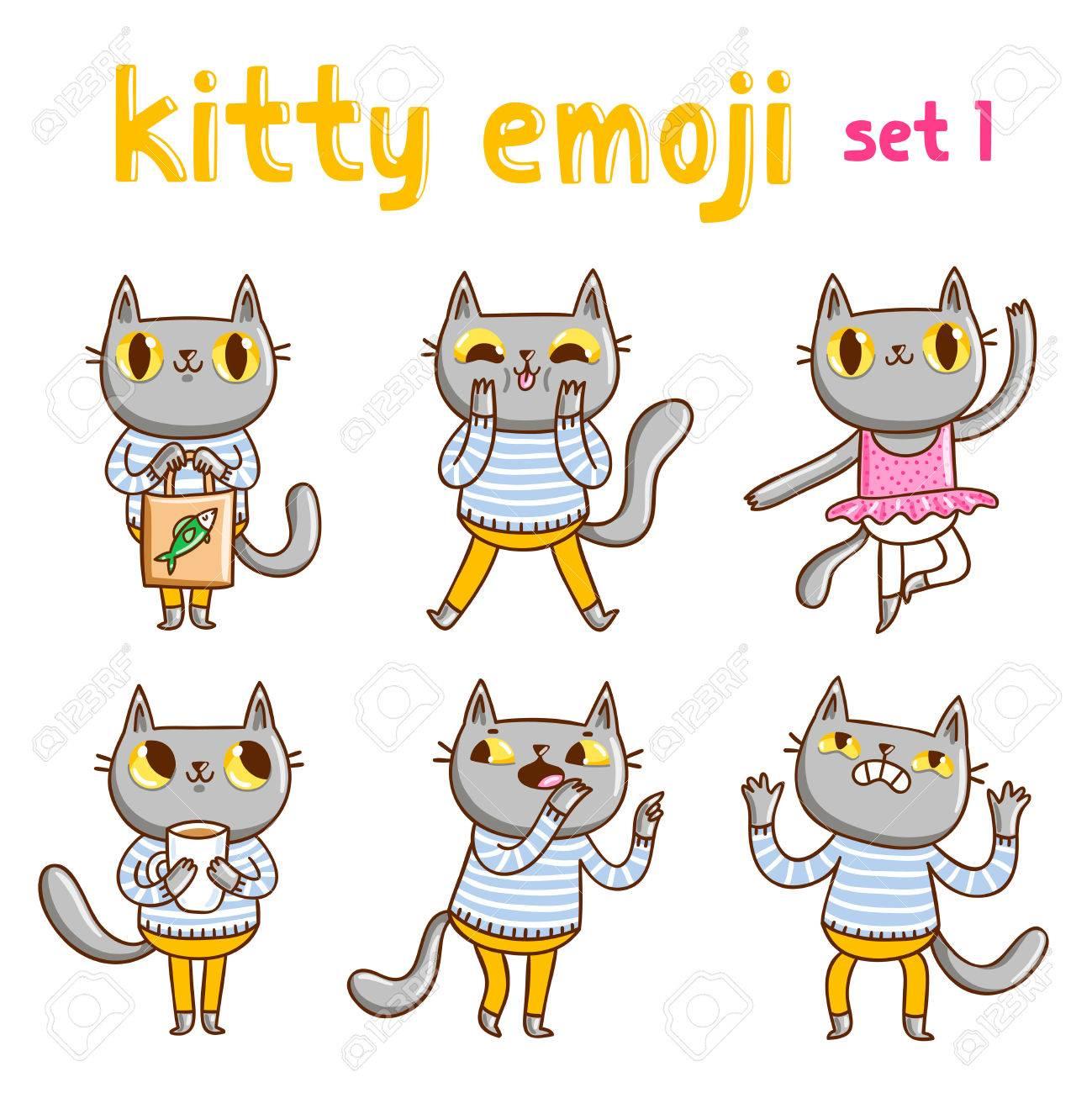 Kitty Emoji Set 1. Vector Mascot Illustrations Royalty Free Cliparts ... 17ddc91f98f0