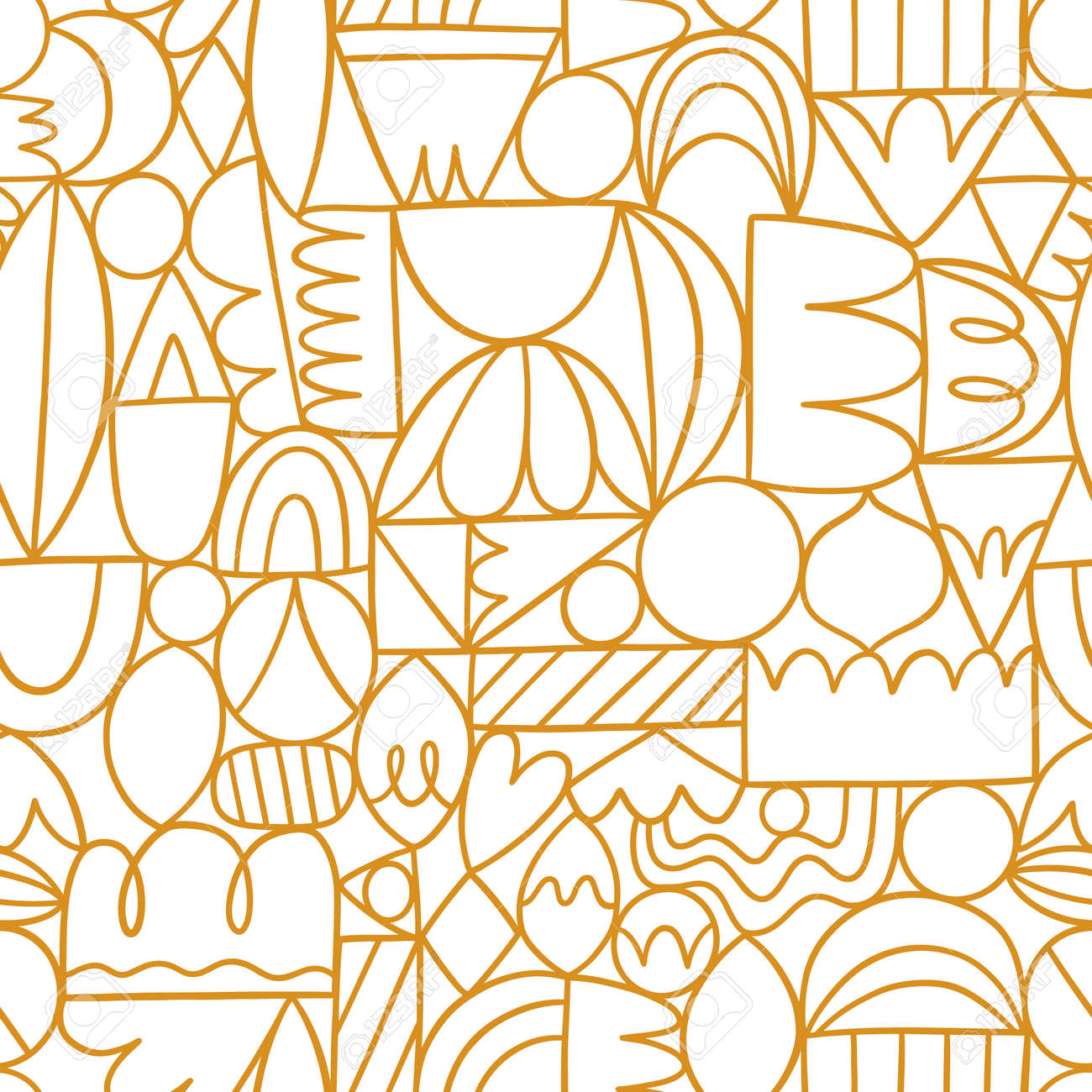 Creative thinking, good thinking, golden outline abstract shapes, vector seamless pattern - 160686512