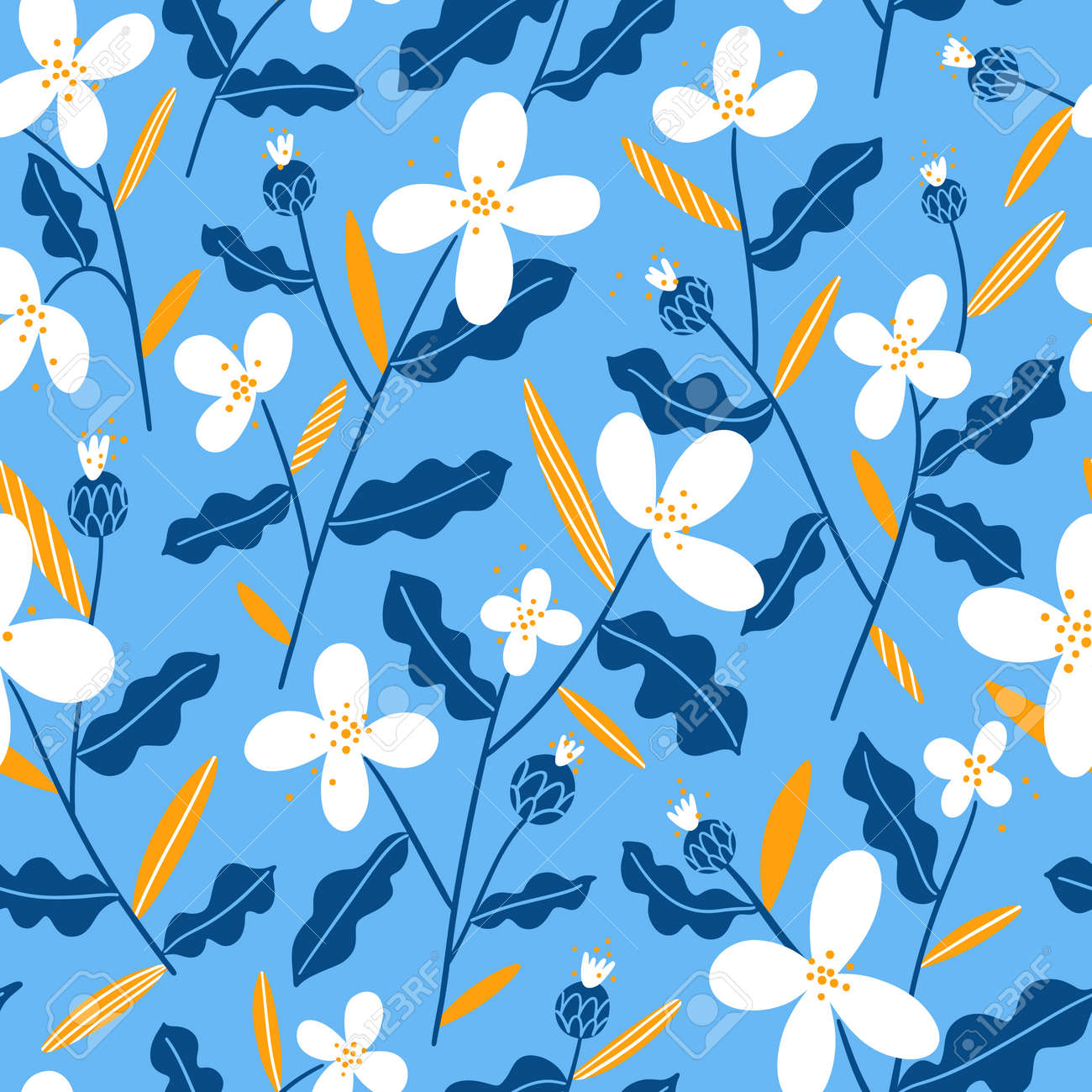 Abstract winter mood white, yellow and blue flowers, vector seamless pattern on light blue background - 161174353
