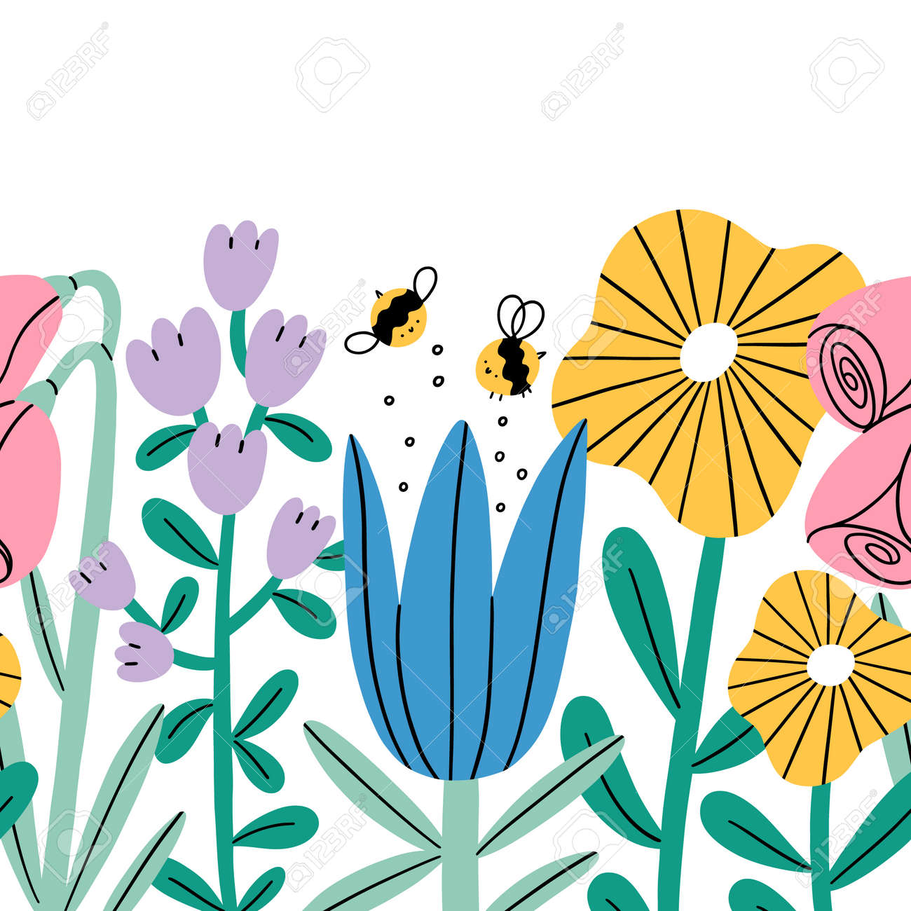 Big cartoon flowers and bees seamless composition, vector repeat border illustration, isolated on white background - 161174354