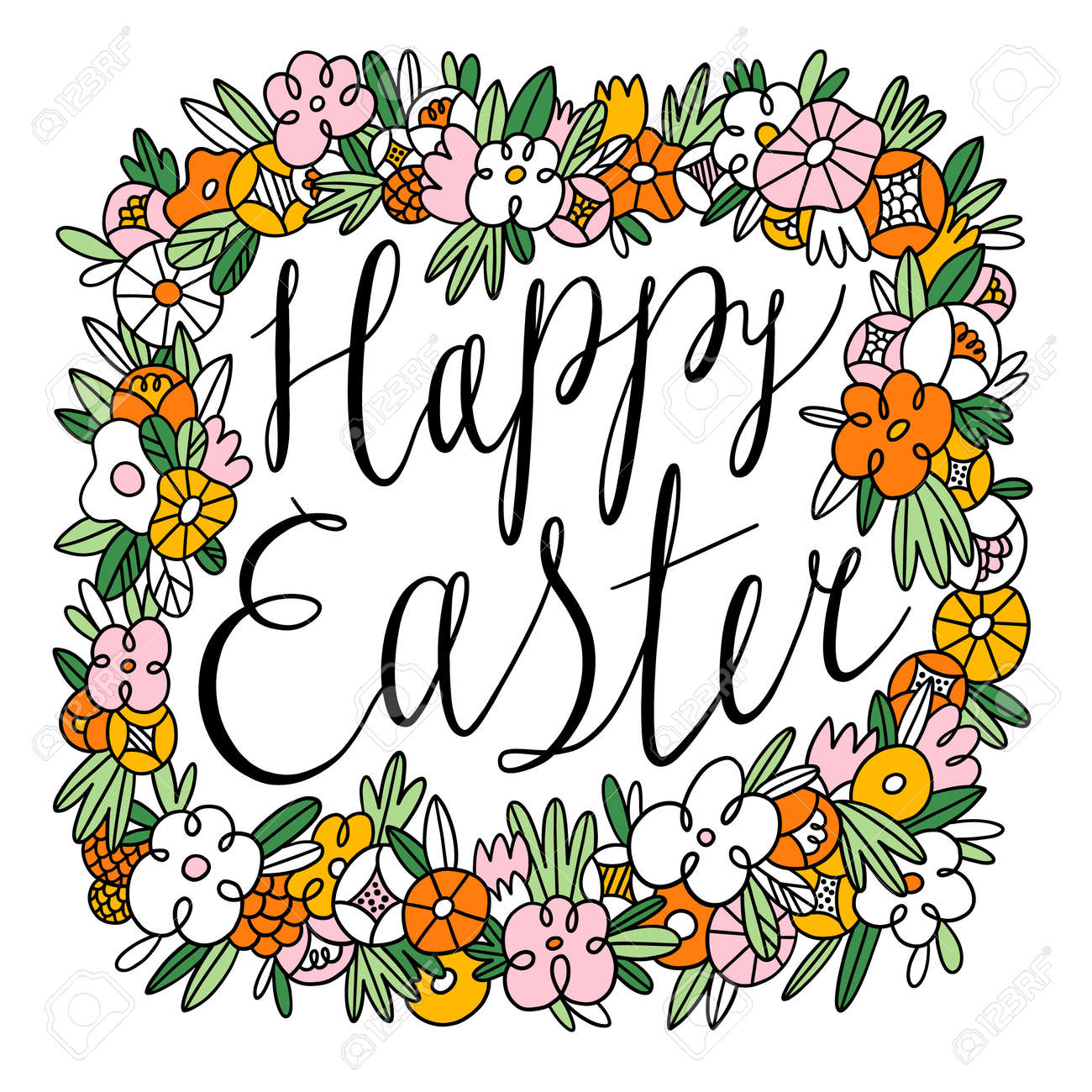 Happy Easter calligraphic black lettering inside beautiful floral frame, vector illustration isolated on white background - 161174357