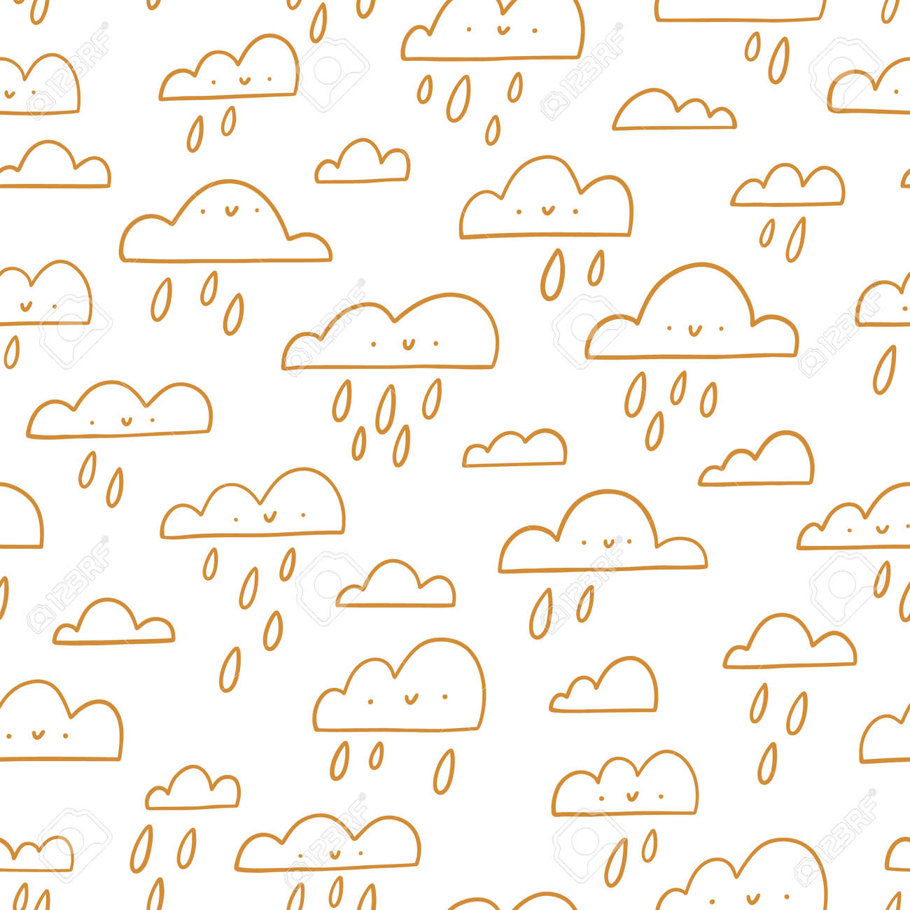 Golden outline happy clouds, rainy weather, vector seamless pattern illustration - 161289746