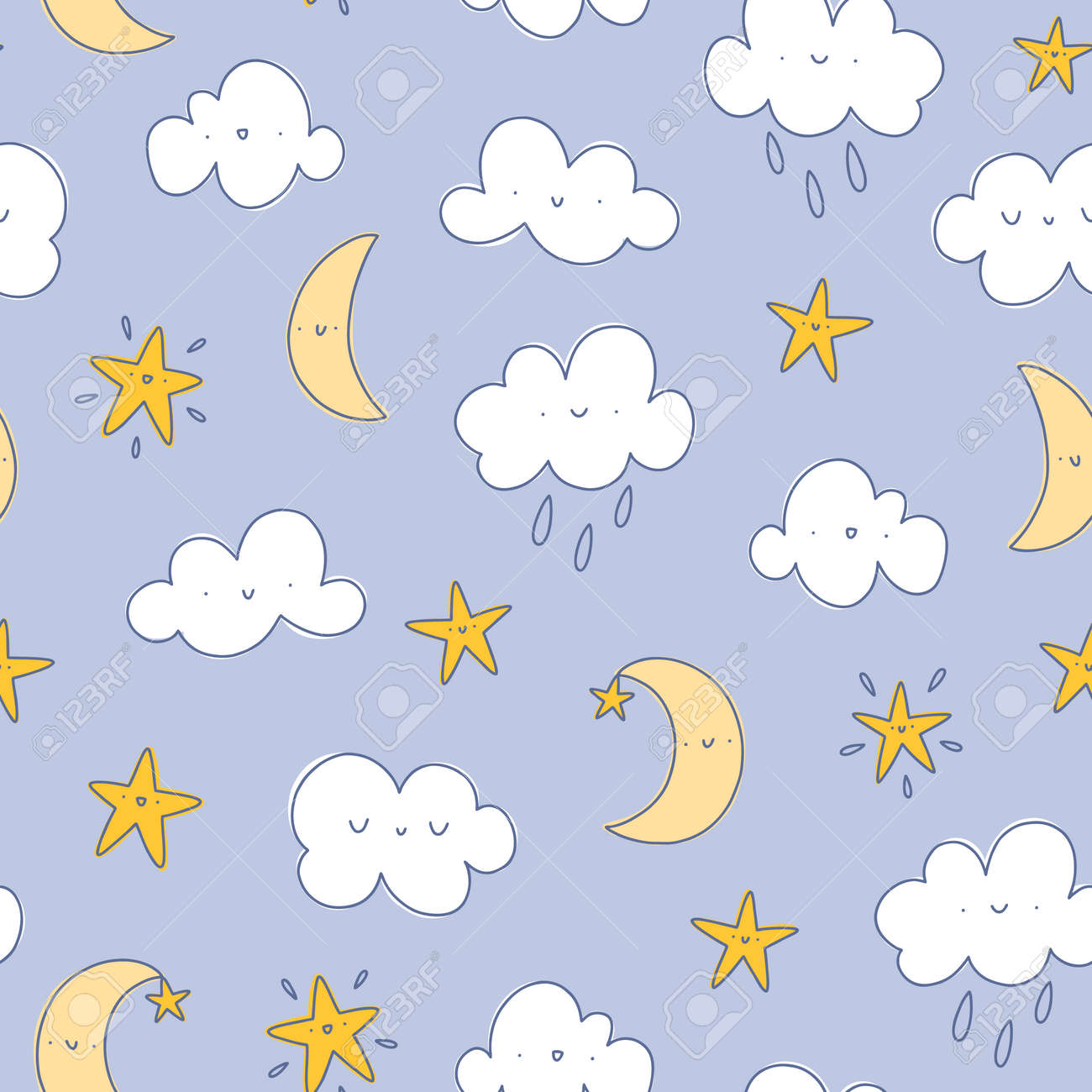 Happy cartoon clouds with raindrops, moon and stars, vector seamless pattern, nursery background - 161289748