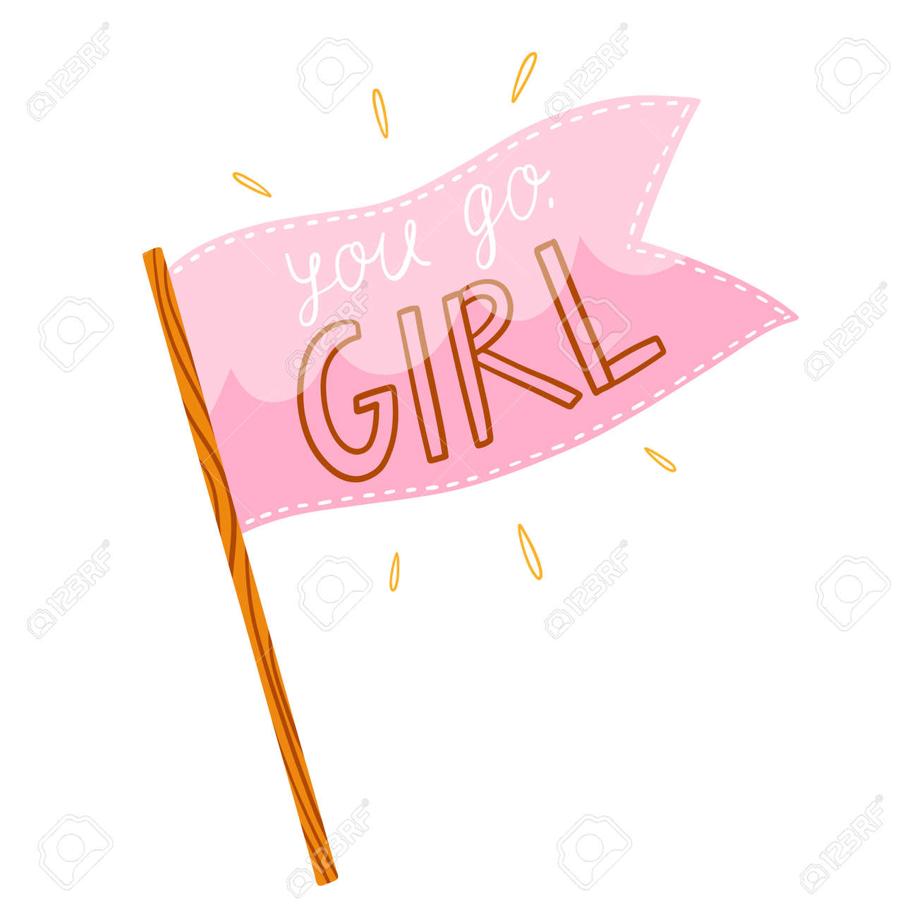 You go girl, pink flag with supportive lettering, vector illustration isolated on white background - 162599334