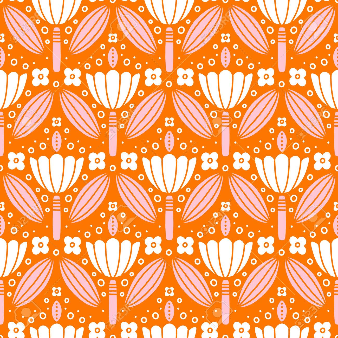 Pink and white flowers symmetric ornament, folk motives, vector seamless pattern - 162599335