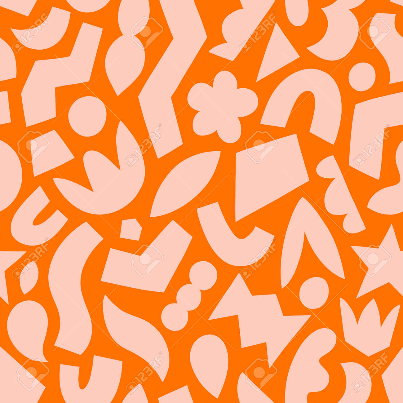 Paper cut out, pink on orange, fun abstract geometric shapes, vector seamless pattern - 162599336