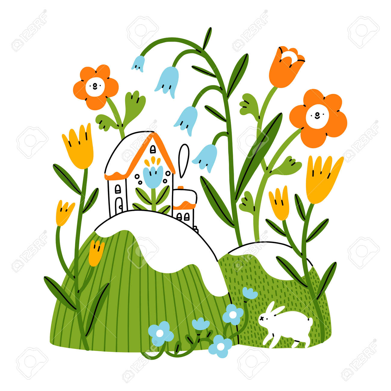 Easter mood, little house on spring hills with bunny rabbit and flowers, vector illustration isolated on white background - 162389498