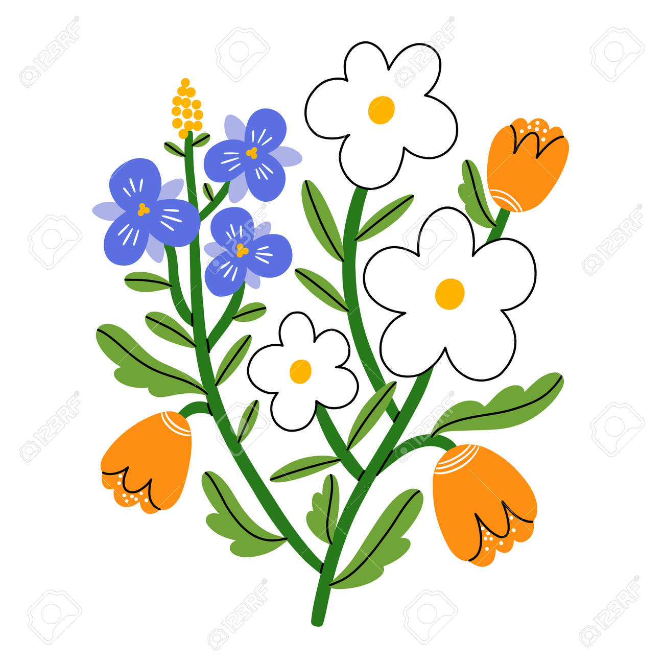 Violet pansy, daisy and tulip flower bouquet, vector illustration, isolated on white background - 162389499
