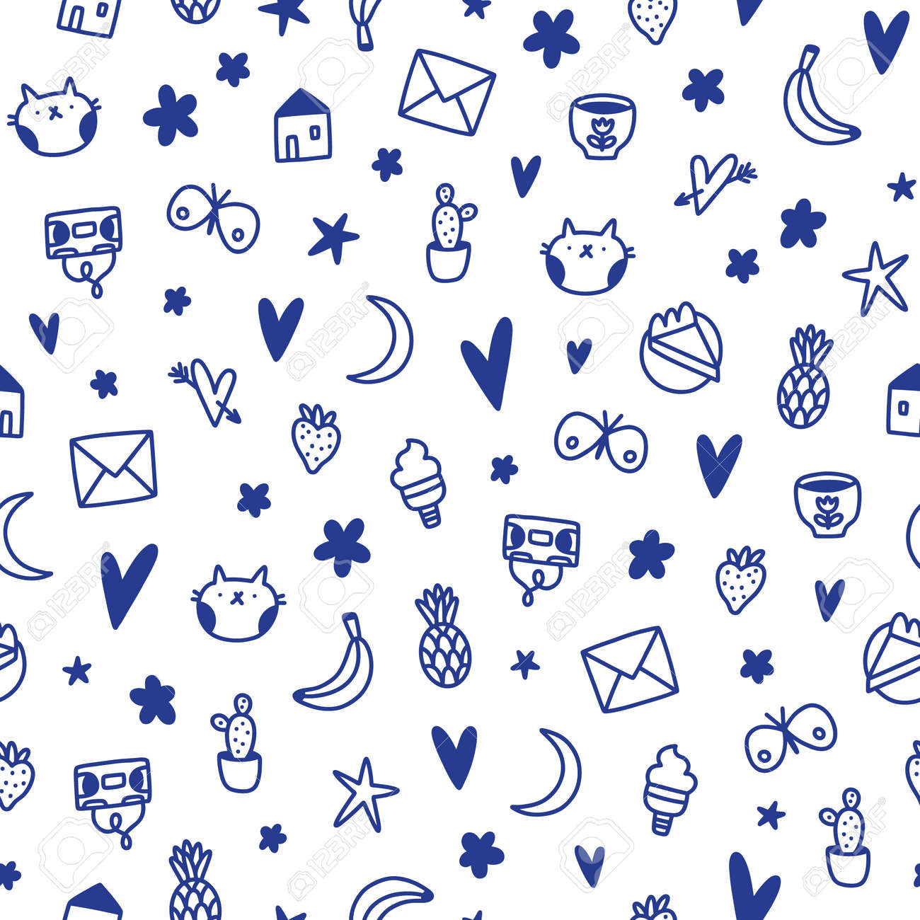 Cute ink doodles, kids nursery, simple and fun vector seamless pattern - 162389500