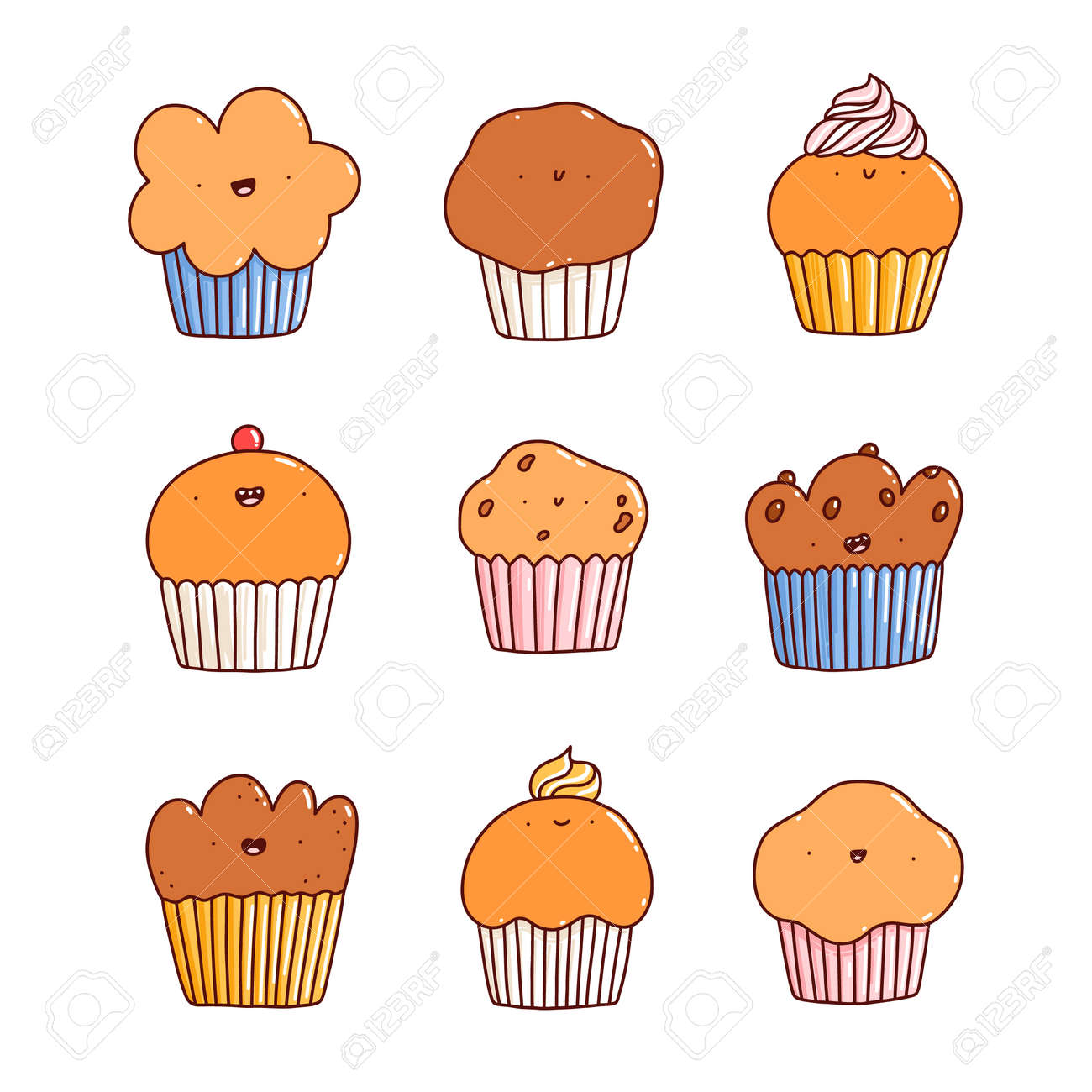 Cartoon cupcakes and muffins cute characters vector set, isolated on white background - 162389503