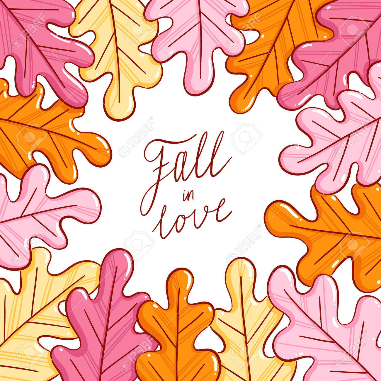 Colorful autumn leaves, fall in love lettering, vector illustration frame isolated on white background - 163336749