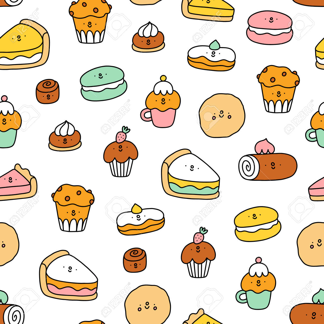 Cute pastry characters, cartoon macarons, cupcakes and cookies, vector seamless pattern - 163336771