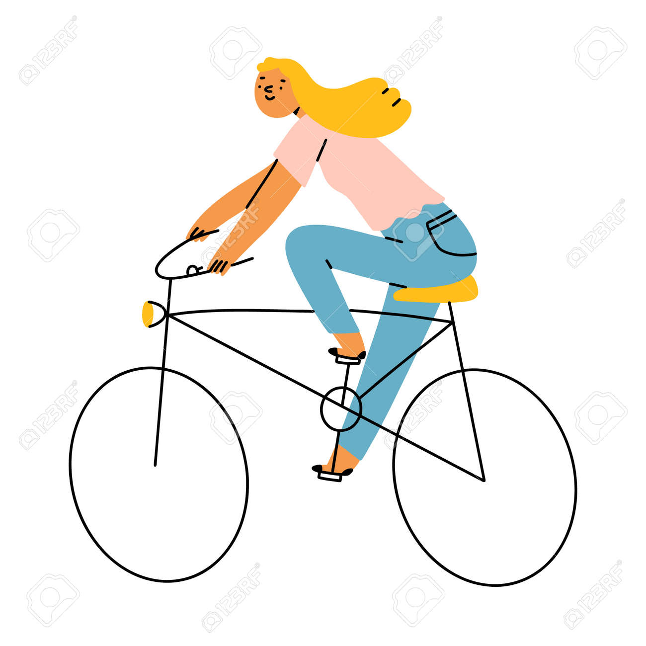 Blond girl riding a bicycle, vector illustration isolated on white background - 163336772
