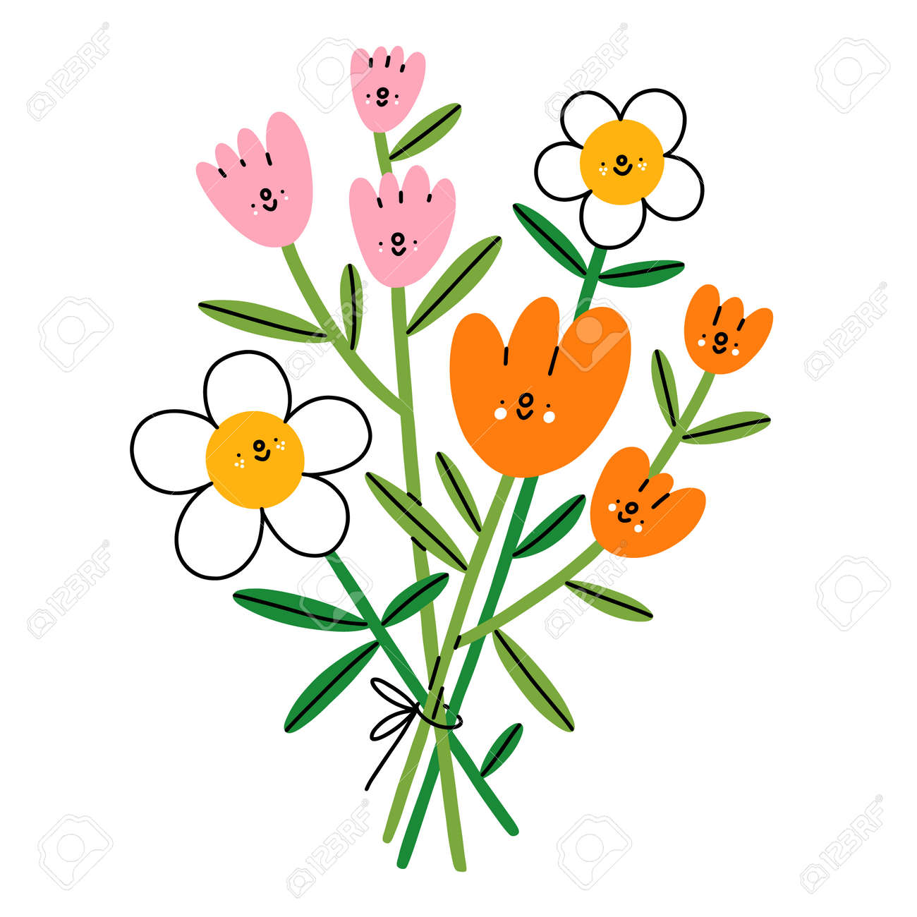 Happy flower characters bouquet, vector illustration with cartoon colorful flowers, isolated on white background - 163336774