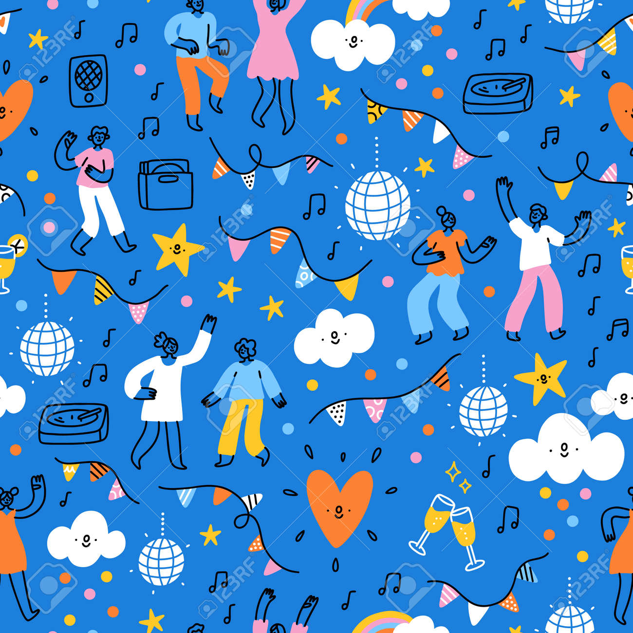 Dance party, bunting decorations, music playing, people dancing and celebrating, vector seamless pattern - 163338179