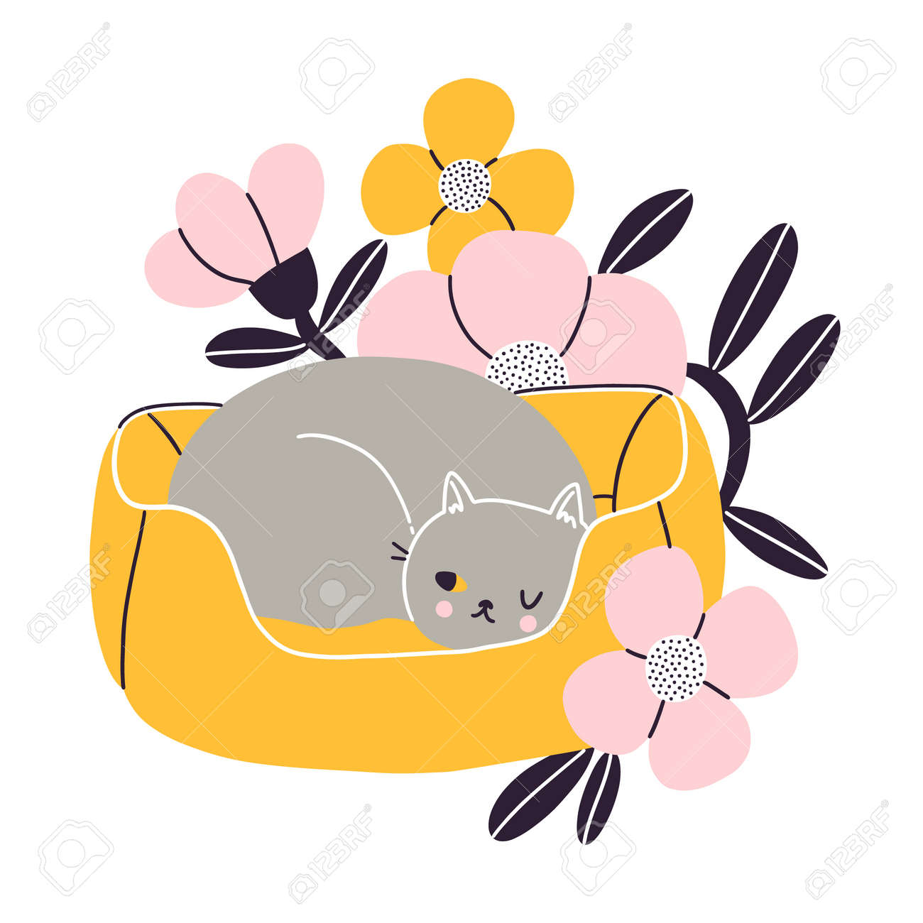 Cat nap corner, gray British cat sleeping in her pet bed with flowers, vector illustration isolated on white background - 163338188