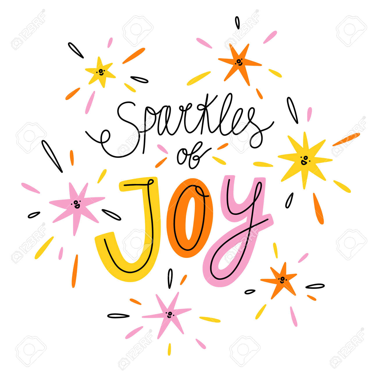Sparkles of joy, colorful vector lettering illustration isolated on white background - 163258147