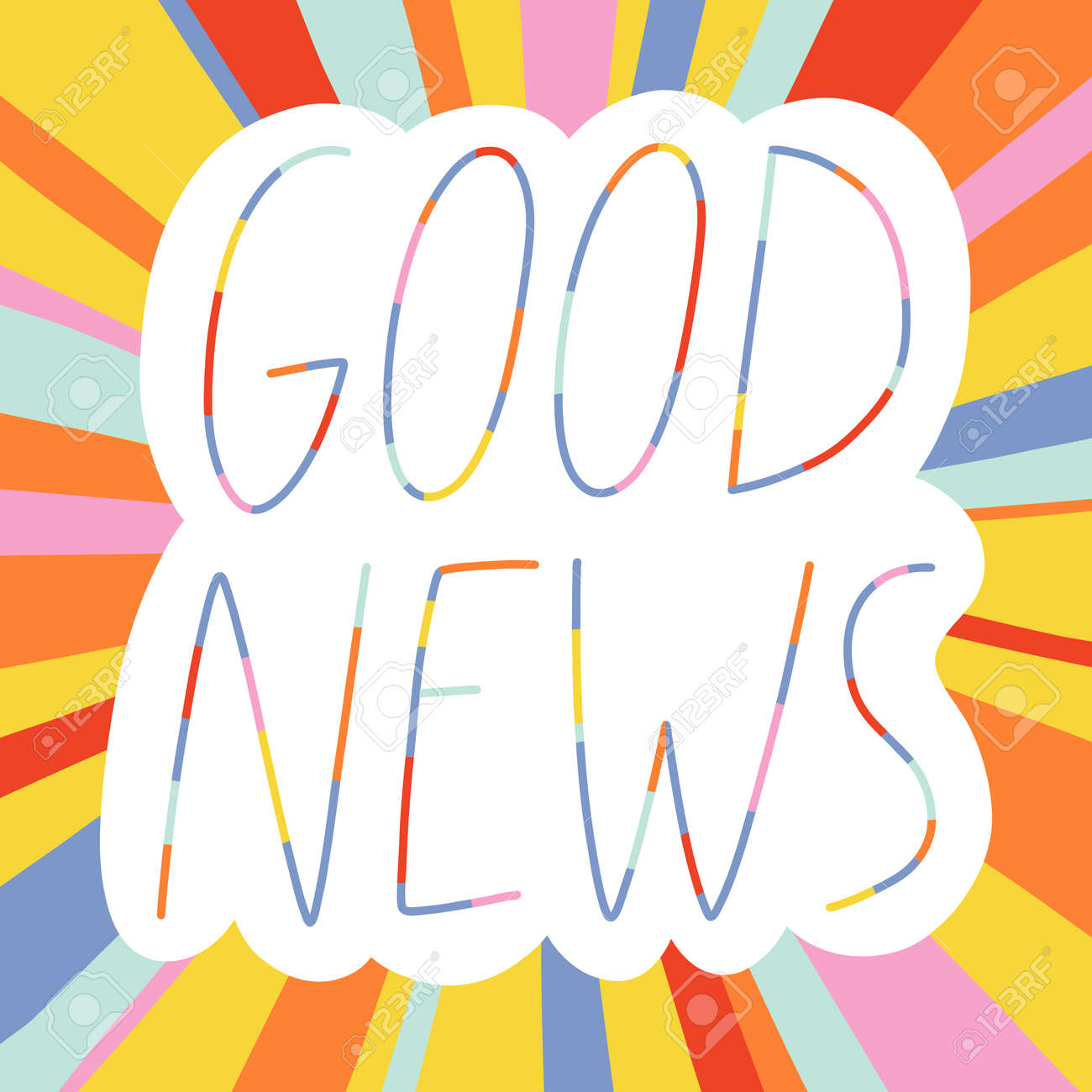 Good news colorful lettering on bright striped background, vector illustration - 163258922