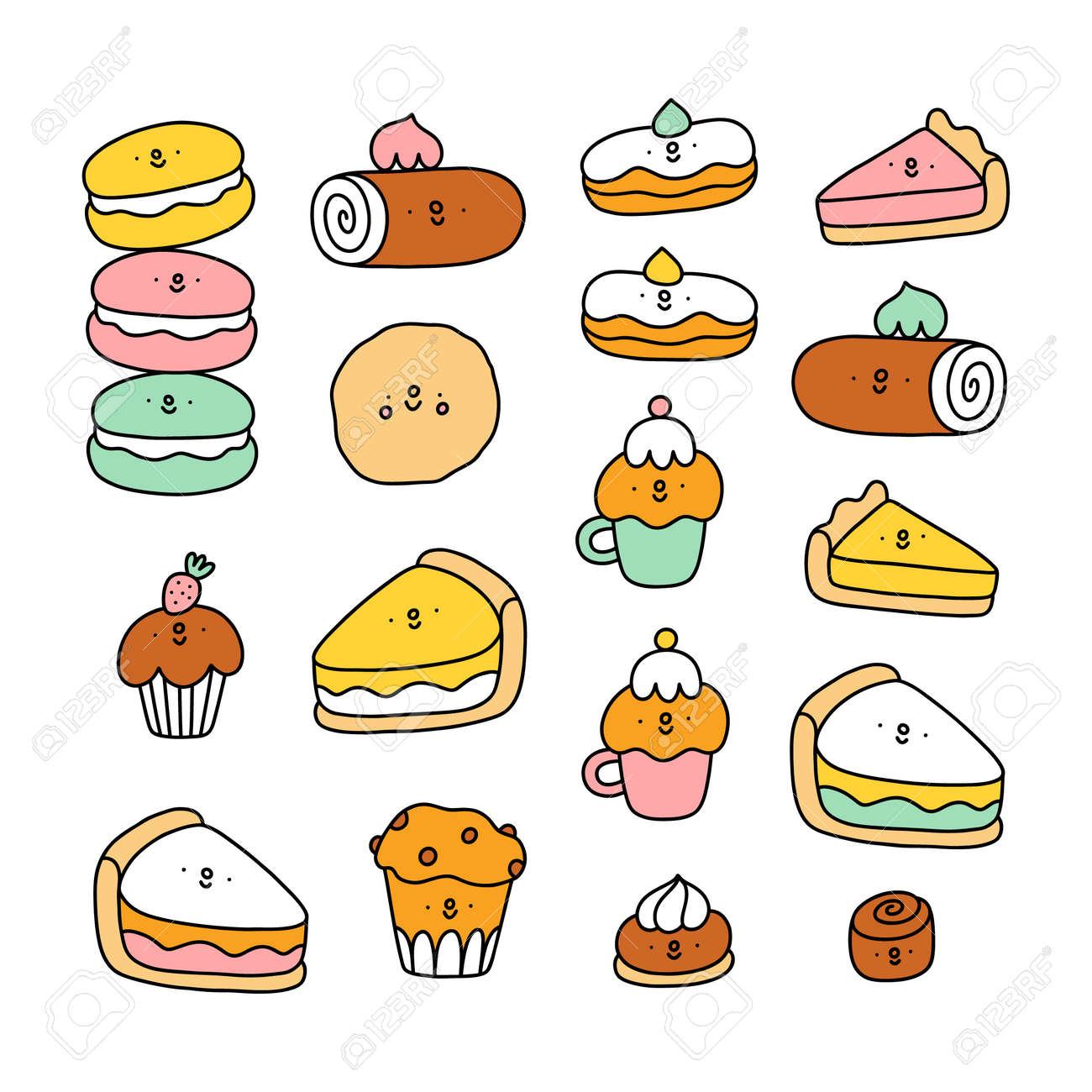 Cute pastry characters, cartoon macarons, cupcakes and cookies illustration collection - 164484653