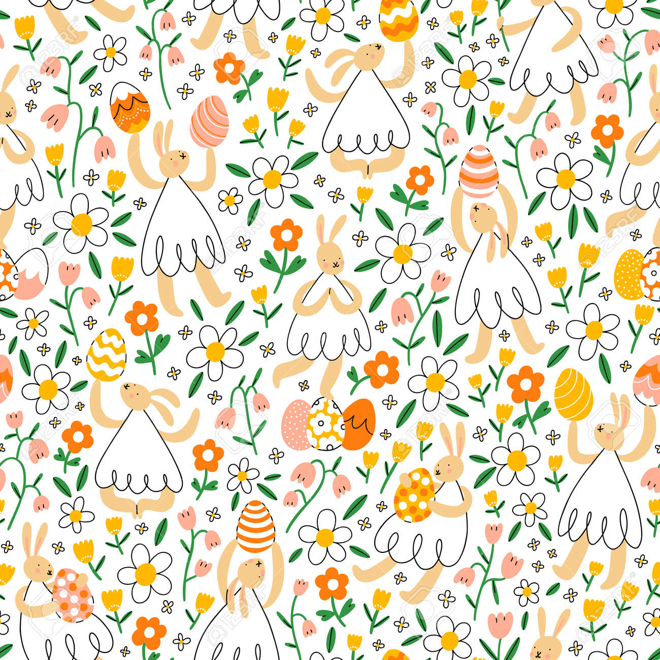 Easter bunnies with eggs in flower field in seamless pattern - 164484654