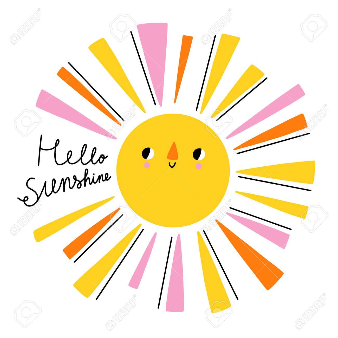 Hello sunshine hand drawn lettering, cartoon sun character with colorful sunbeams, vector illustration isolated on white - 163805588