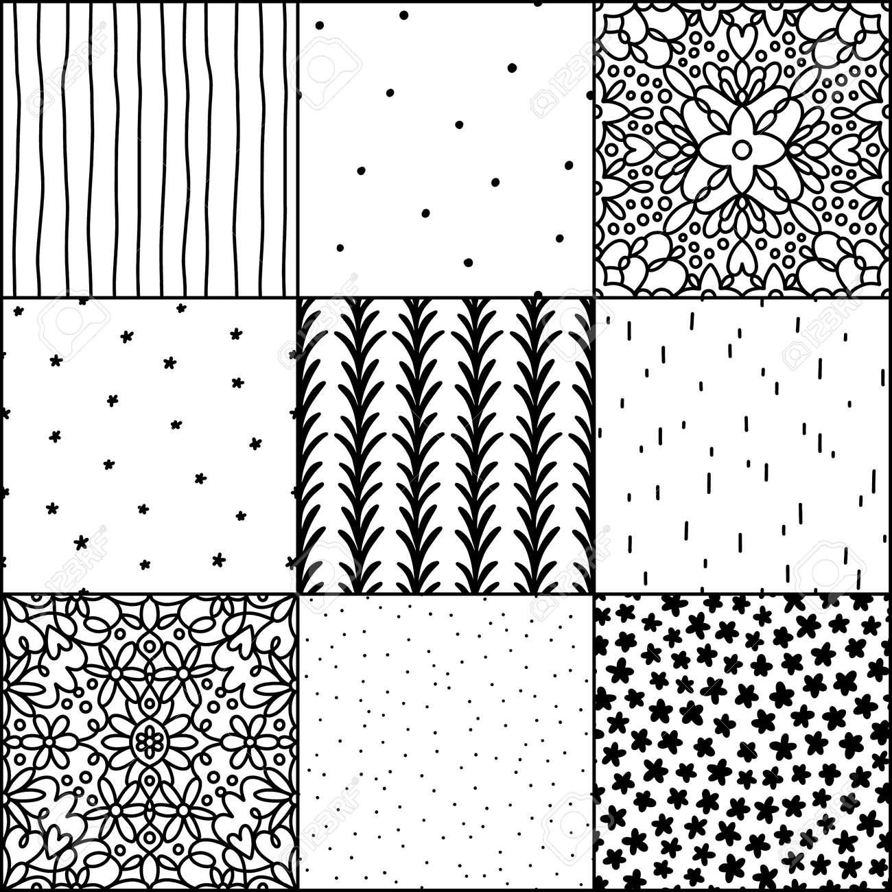 Black and white abstract and simple doodle seamless patterns collection, repeat backgrounds - 164565487