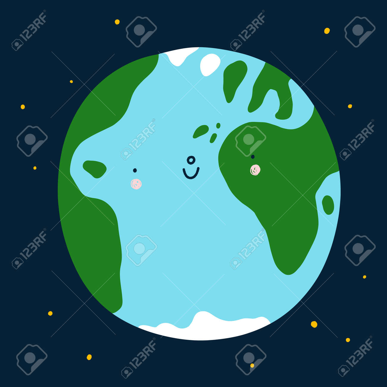 Planet Earth cute and happy cartoon vector character, space illustration, save the Earth - 164192541