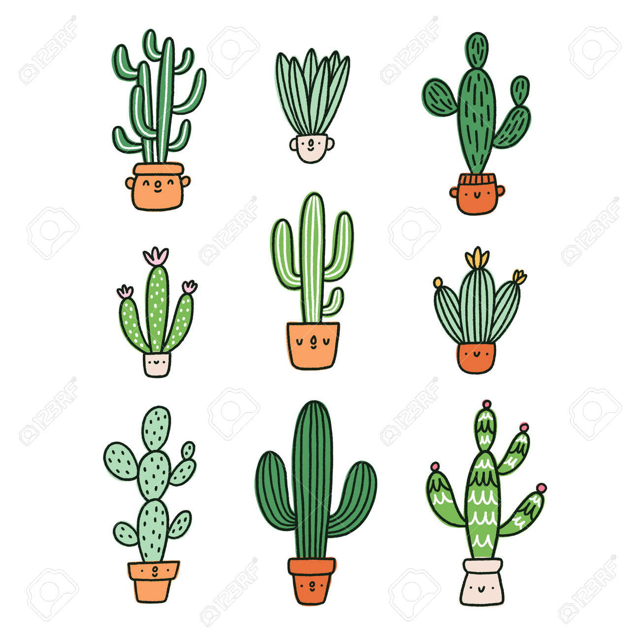Cute cactus cartoon characters vector collection - 164192633