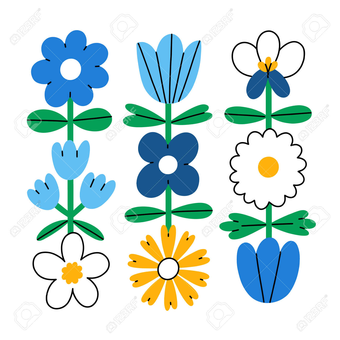 Abstract simple folk flowers, vector composition, isolated on white background - 164556575