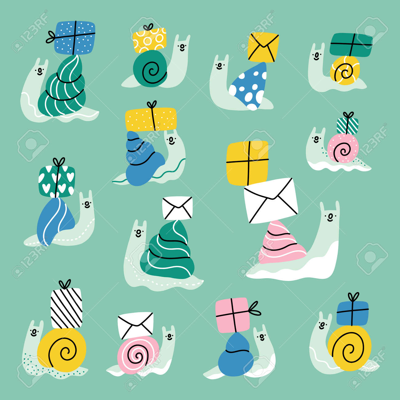 Cute cartoon snails with mail envelopes and present boxes, vector illustrations collection - 165916612