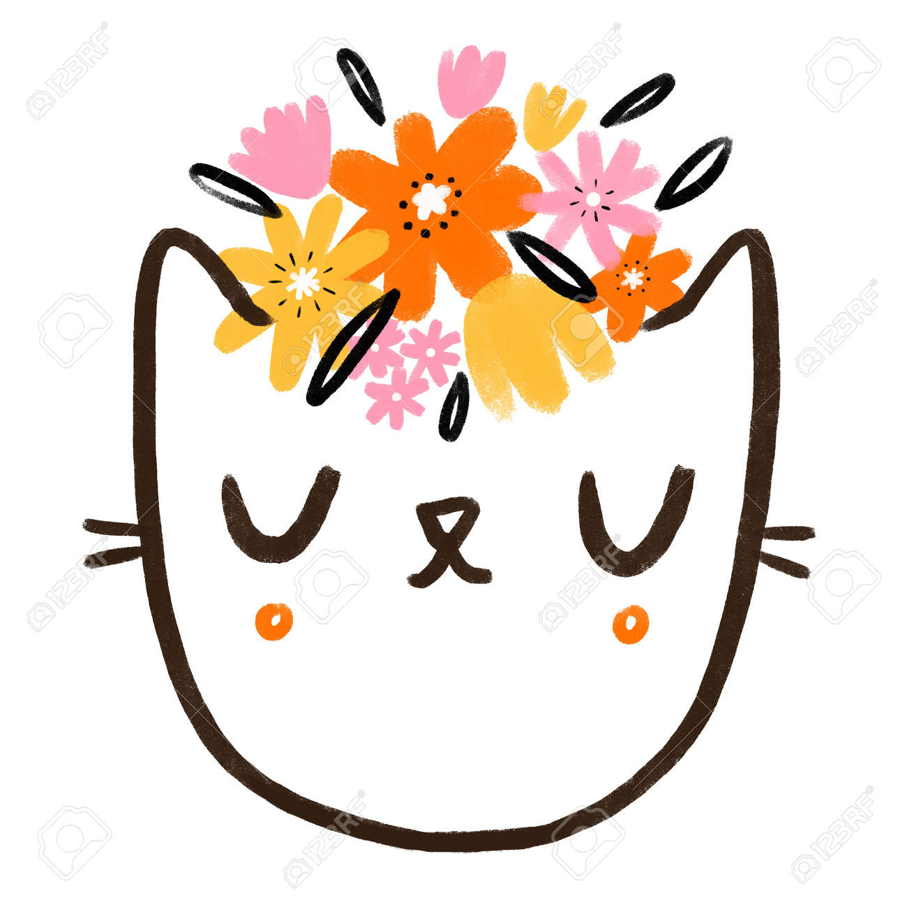 Kitty face with wild flowers, abstract cute cartoon doodle illustration, isolated on white background - 166198646