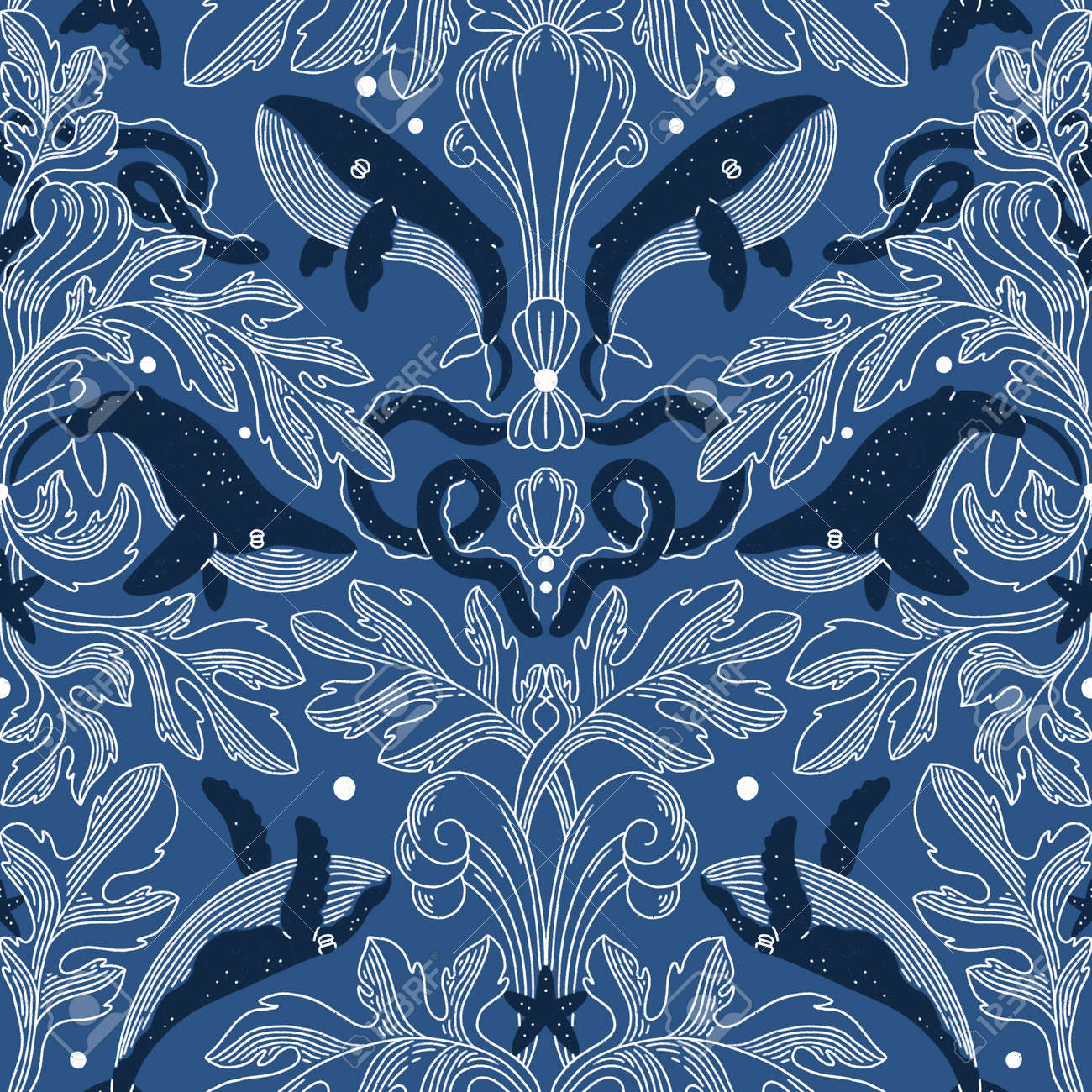 Nautical damask texture with whales, modern vintage seamless pattern illustration - 166345108
